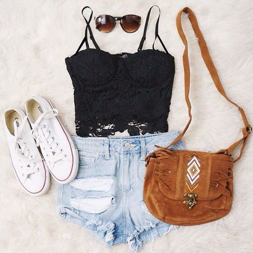 Gorgeous denim shorts with top black lace blouse and brown leather hand bag and white soft shoes and cute goggles the best teen fashion