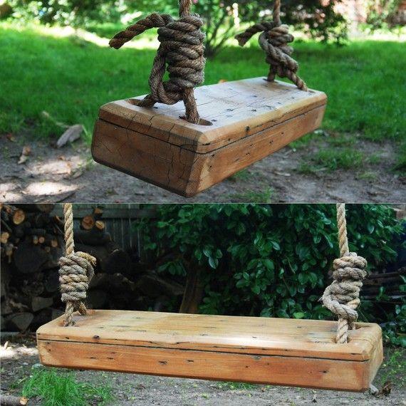 High Style Tree Swing - Reclaimed Wood (c) PegAndAwl on etsyWood Swings, Reclaimed Wood, Tree Swings, Gardens Swings, Outdoor, Front Yards, House, Trees Swings, Backyards