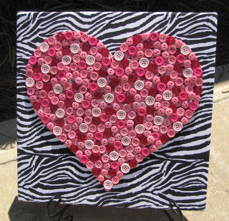 12x12 Pink Button Heart Art Picture on Black and White Zebra Fabric - pinned by pin4etsy.com