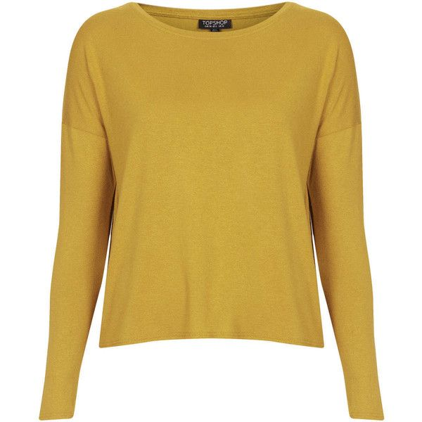 TOPSHOP Long Sleeve Crepe Top (425 UYU) ❤ liked on Polyvore featuring tops, jumpers, yellow, long sleeve tops, yellow top, crepe top, yellow long sleeve top and boxy tops