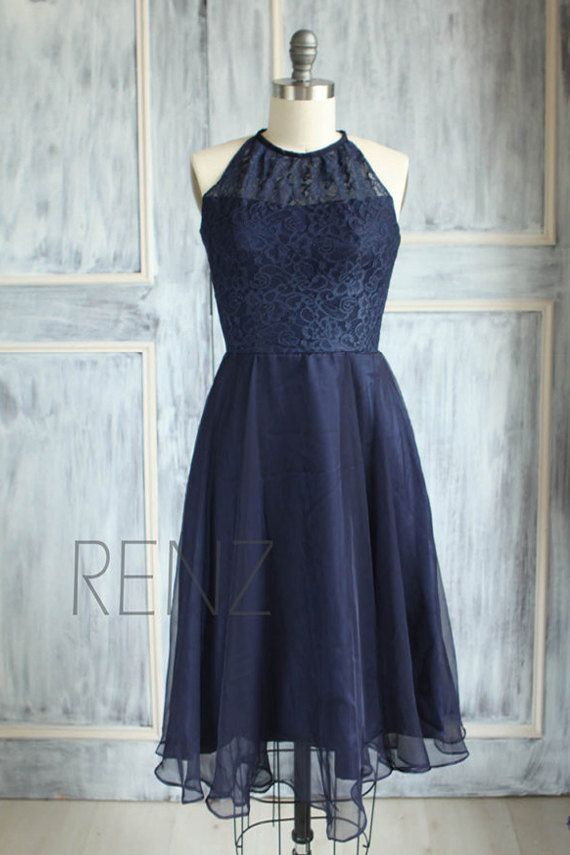 2015 Navy Blue Lace Bridesmaid dress High Halter by RenzRags