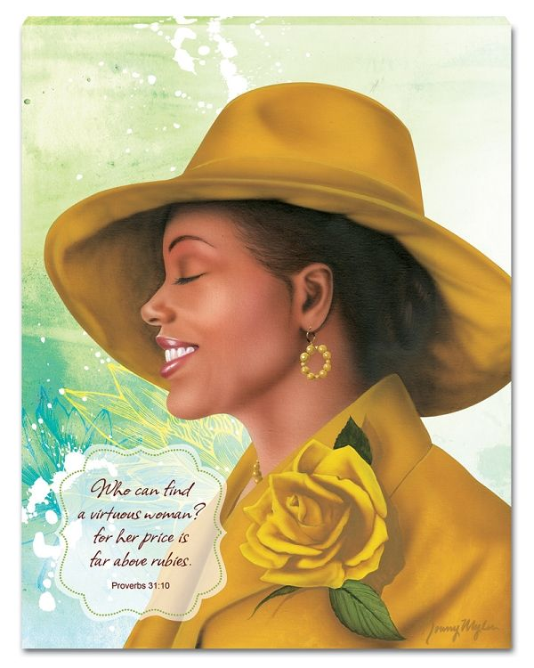 A canvas wall hanging by Ronny Myles featuring an inscription from Proverbs 31:10 about virtuous women.