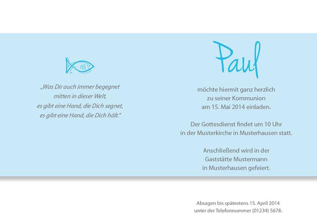 Einladungskarten - Einladungskarte Kommunion Punkte blau - ein Designerstück von Druckkopf bei DaWanda