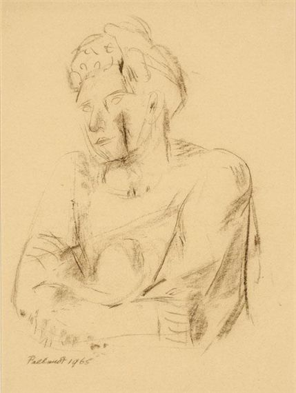 WOMAN IN THOUGHT By Charlotte van Pallandt Artwork Description Dimensions: 35,5 x 26 cm Medium: Brown crayon Creation Date: 1965 Signed