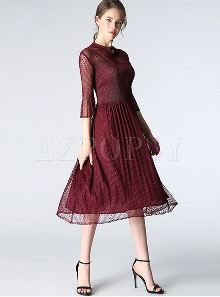 Shop for high quality Ethnic Mesh Three Quarters Sleeve Skater Dress online at cheap prices and discover fashion at Ezpopsy.com