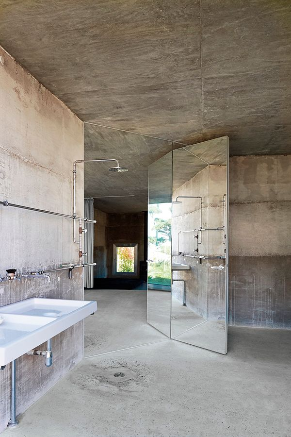 all cement bathroom love the mirror wall