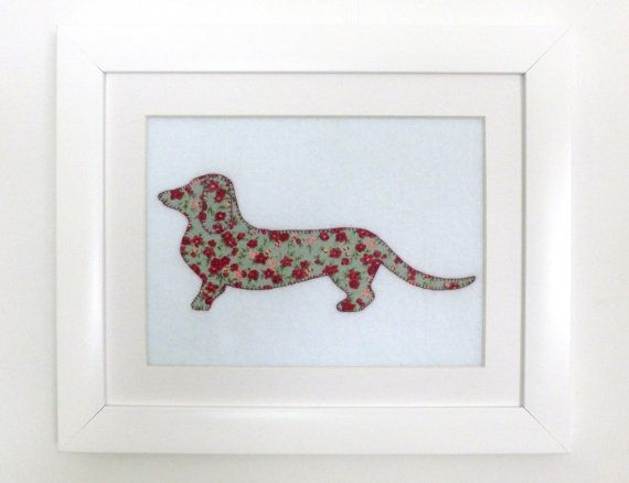 Framed Dachshund Picture/Wall Art Dachshund by SewJuneJones. #dachshund #applique #silhouette #textile #picture