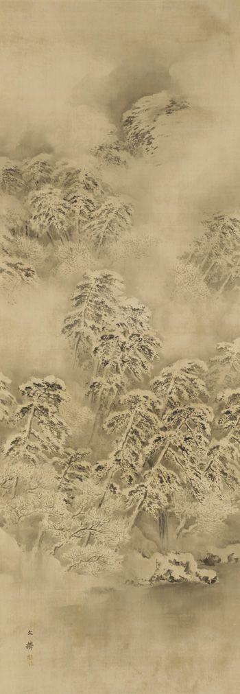 Winter landscape  ca. 1865-1870    Shiokawa Bunrin , (Japanese, 1808-1877)   Edo period or Meiji era     Ink on silk panel  H: 139.7 W: 69.2 cm   Japan