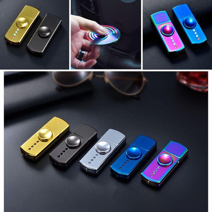 LED Flash Light Alloy Hand Spinner USB Cigar Lighter Fidget Gift 2017 Adult Toy