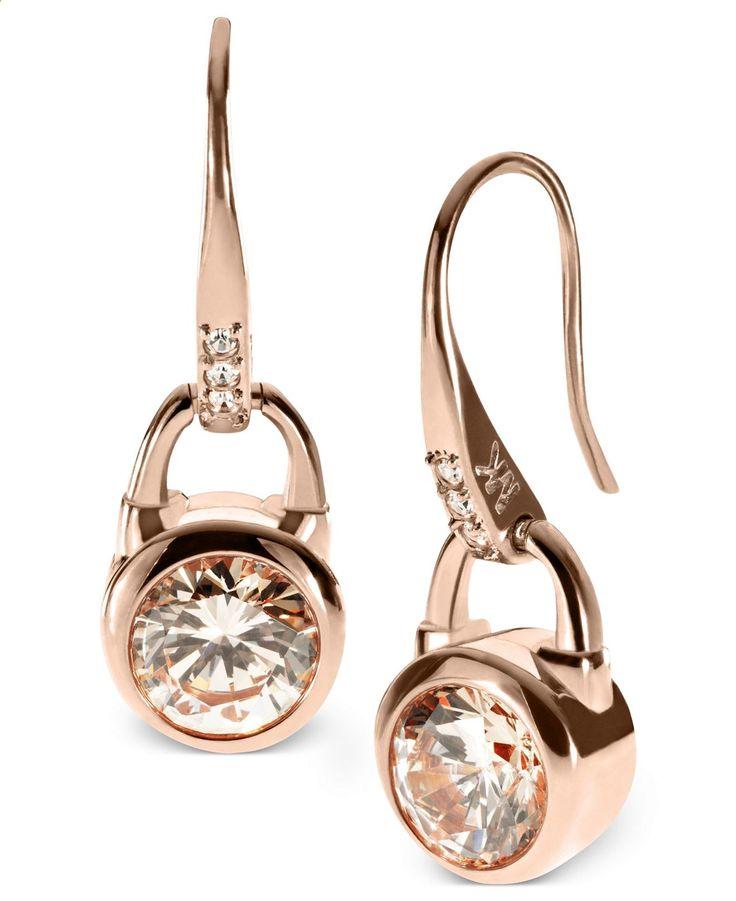 Michael Kors Earrings, Rose Gold-Tone Silk Padlock Drop Earrings - Michael Kors - Jewelry Watches - Macys
