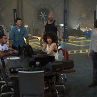 Dwayne Johnson, Ludacris, Michelle Rodriguez, Tyrese Gibson, Scott Eastwood, and Nathalie Emmanuel in Fast & Furious 8 (2017)