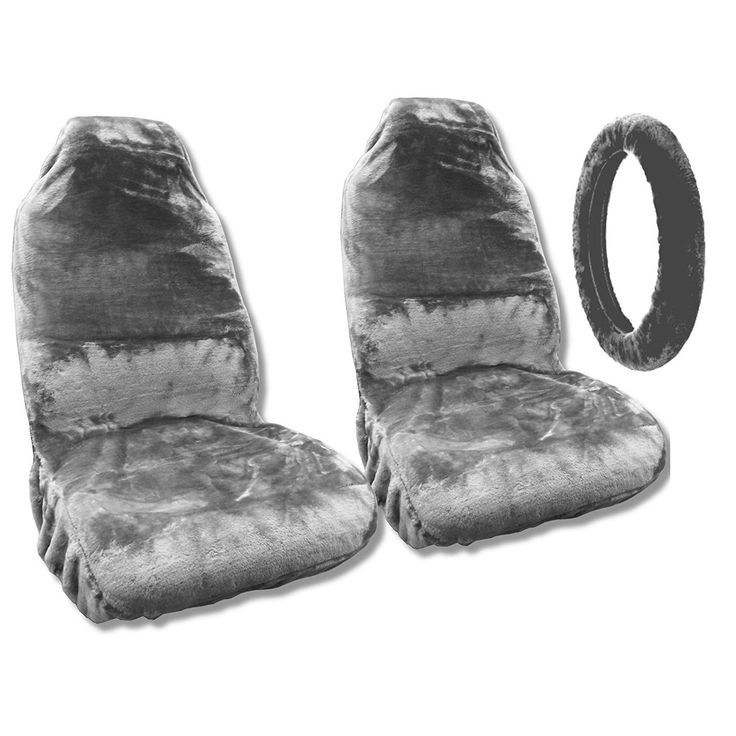 Unique Sheepskin Seat Covers Pair Steering Cover Gray Fleece Fits Ford Must (Color)