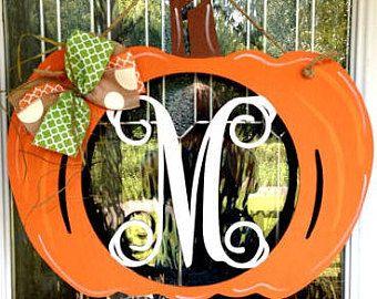 Monograma suspensión de puerta calabaza, Monograma suspensión de puerta, caída de suspensión de puerta, decoración de la caída, suspensión de puerta calabaza, otoño, halloween