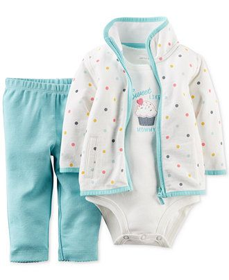 Carter's Baby Girls' 3-Piece Cardigan, Bodysuit & Pants Set - Baby Girl (0-24 months) - Kids & Baby - Macy's