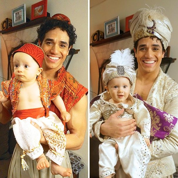 Aladdin star Adam Jacobs and his wife Kelly dressed up their seriously styling twins for Halloween