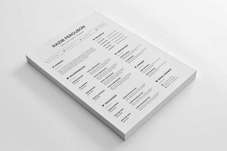 30 most beautiful minimalist cv template psd for free