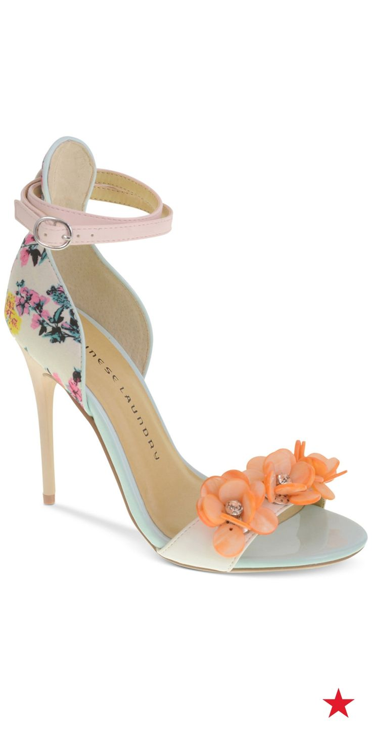 Give your prom look a fun and flirty feel with Chinese Laundry's Lilly two- piece dress sandals.  The flower embellishments and floral prints are sure to turn heads all night long!