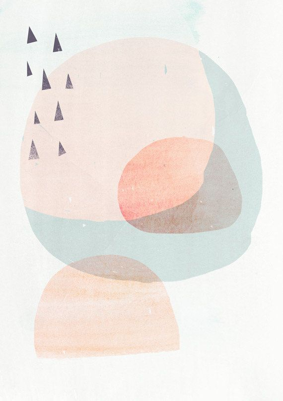8x10 Scandinavian Art Inspired Art Print CIRCLES 2- Light Peach version - Fine Art Giclee Print
