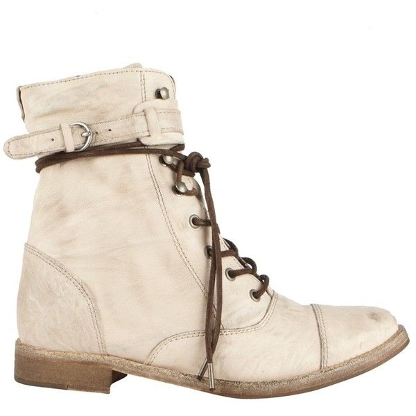 Vintage Lace Up Boot (€190) ❤ liked on Polyvore featuring shoes, boots, ankle booties, zapatos, botas, allsaints boots, allsaints, summer boots, vintage lace boots and summer booties