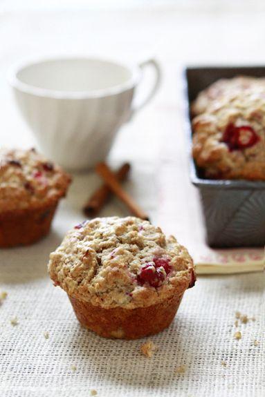 Rustic Apple Cranberry Oatmeal Muffins