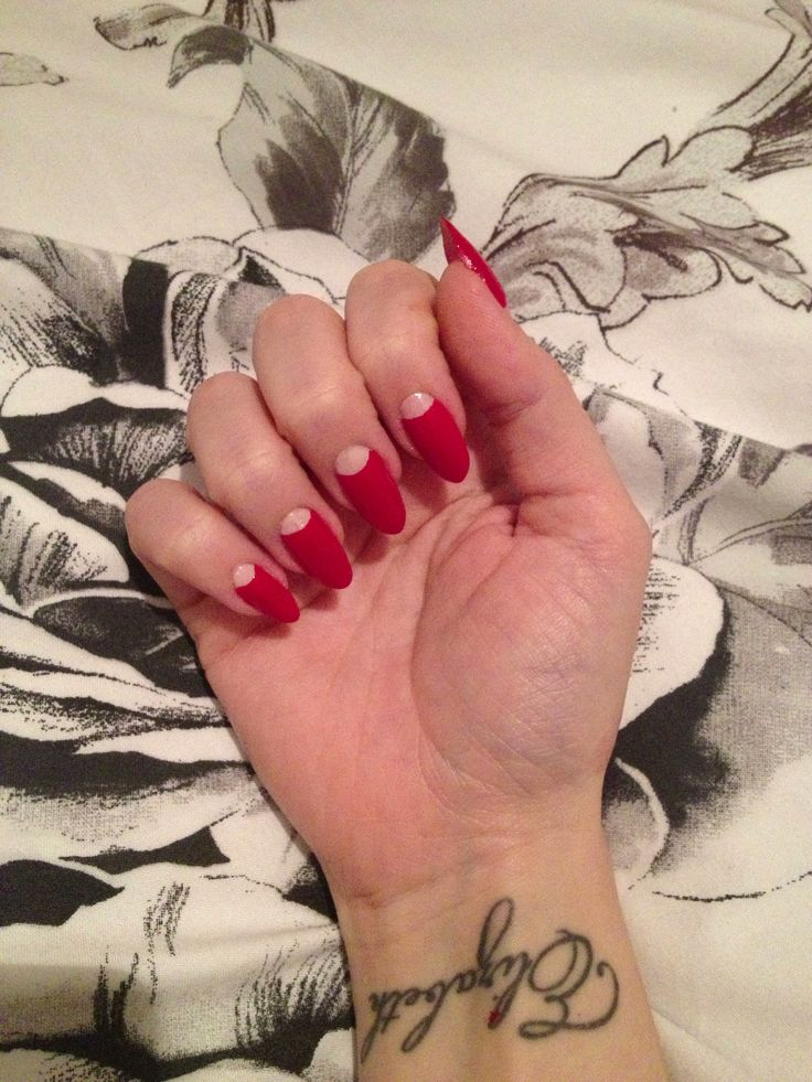 1940s half-moon manicure by Elizabeth Parker.  Base: OPI Start to Finish.  Nude: self-mix of OPI nude shades.  Red: OPI Big Apple Red Top Coat: Chanel Matte