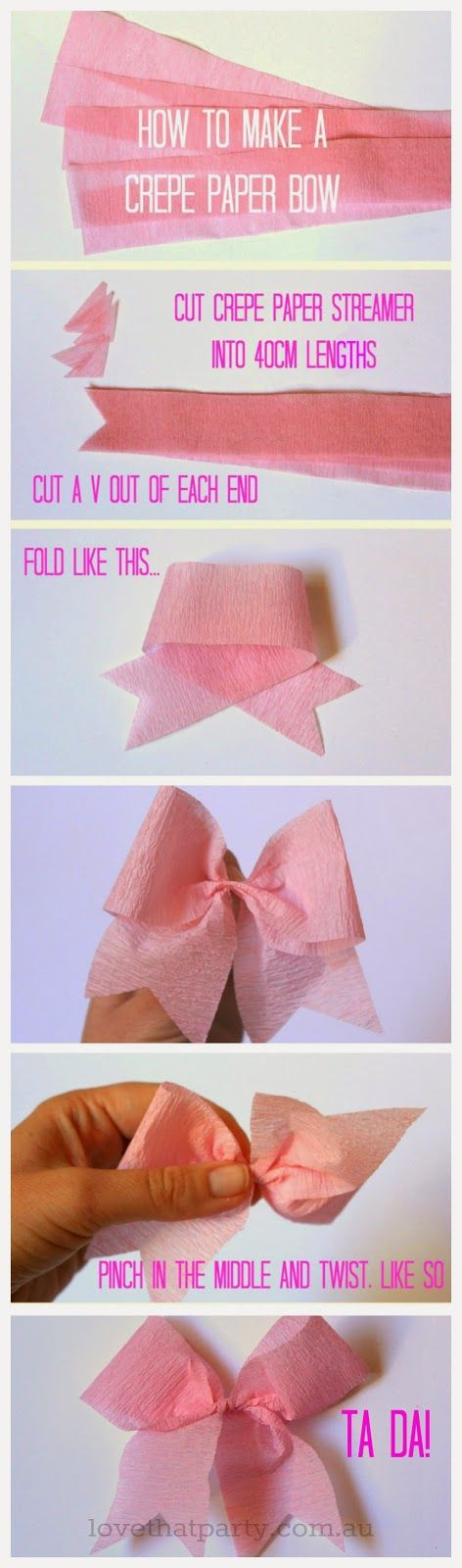 how to step by step photo instructions for making paper bows from crepe paper streamers.