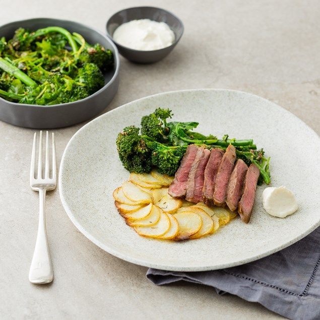 My Food Bag - Nadia Lim - Recipes - Beef Scotch with Potato Galette, Wilted Greens and Horseradish Cream