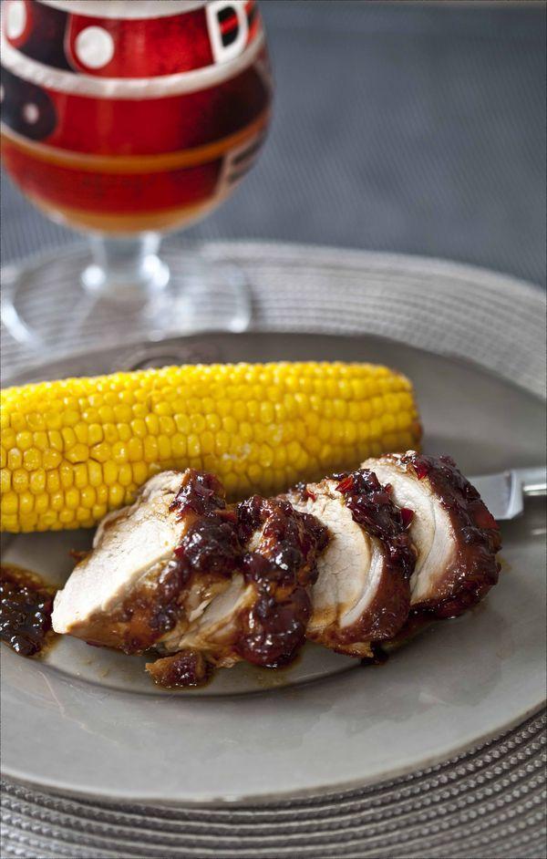 Filet mignon de porc à la sauce BBQ et maïs rôti au four