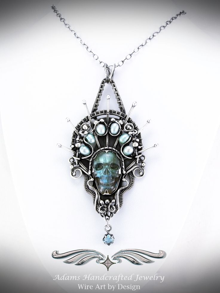 """""""Crown of Quetzal"""" - Carved Labradorite Pendant Necklace in Fine Silver w/ Sky Blue Topaz (1.5 ct)"""