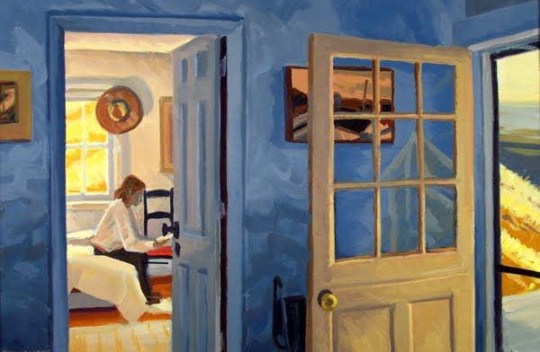 Edward Hopper:  Rooms by the Sea  Here is what separates the artist and lover of art from most other people. The average person sees a flat surface of pretty lines and colors. Artists and their friends see an open window. They can step through that window into the scene. In their minds, they are inside the painting. Thoughts by Roger Carrier