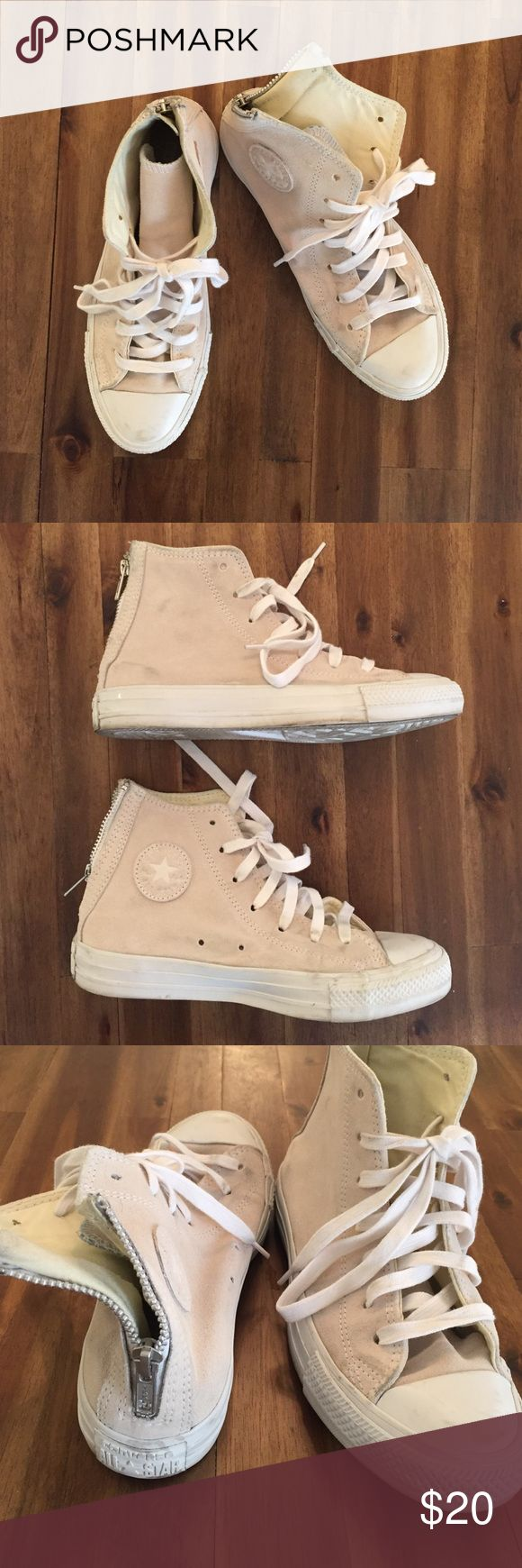 Converse Beige Suede Hightops with Zip-back beige hightops with zip at the heel in suede. a lot of scuffs along the bottom but in decent condition. (please ask for more info or pictures if interested.) Converse Shoes Sneakers