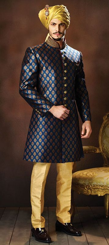 502855: Blue color family stitched Sherwani .