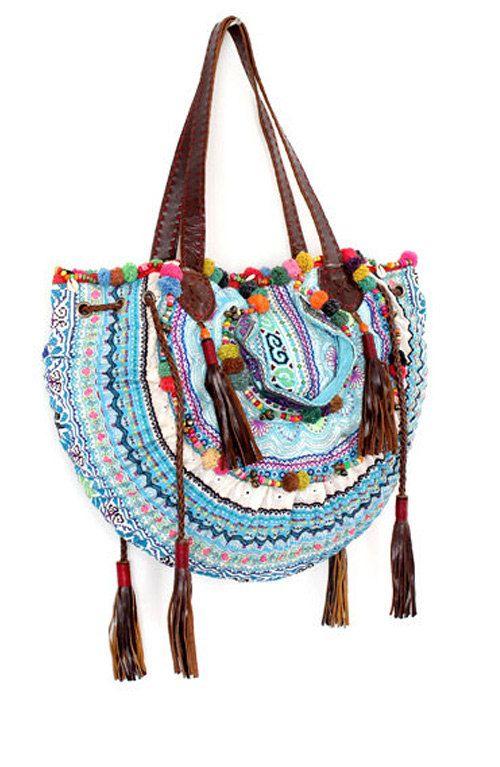 Vintage+Fabric+Half+Circle+Tote+Bag+Handmade+in+Thailand