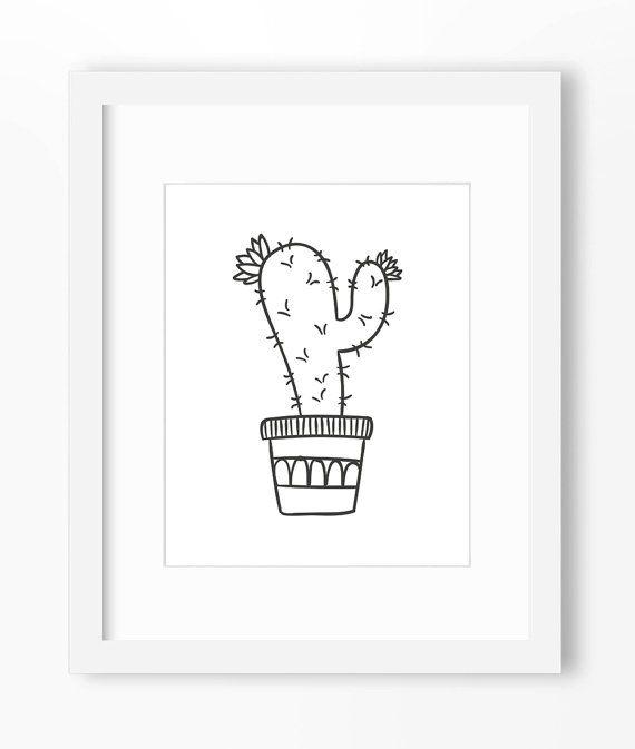 Cactus Art Cactus Print Cactus Wall Art Cactus Wall par Abodica