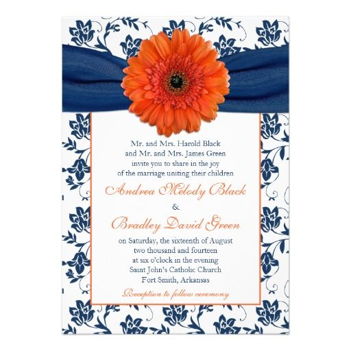 Orange Gerber (gerbera) Daisy Navy Blue Floral Wedding Invitation. Perfect for a navy blue and orange wedding color theme. Click her to personalize and purchase it: http://www.zazzle.com/orange_gerber_daisy_navy_floral_wedding_invitation-161132830067616379?rf=238519505587130819&tc=pinterest  $2.15 per invitation on basic paper. Volume discounts available and you can choose a variety of paper types. Comes with white envelopes.   #weddings #weddinginvitations #gerberadaisy #weddingstationery