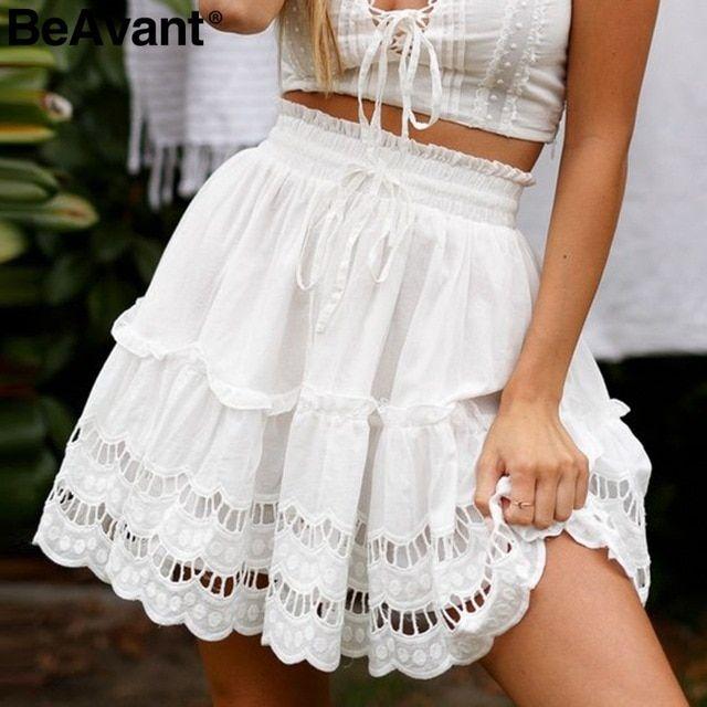 Beavant ALine High Waist Women Skirt White Embroidery Cotton Mini Skirts Casual Loose Ruffle Beach Summer Skirt Size S Color WHITE
