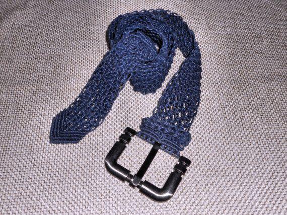 Cintura macramè blu accessori donna casual di AngelaMacrame, €110.00