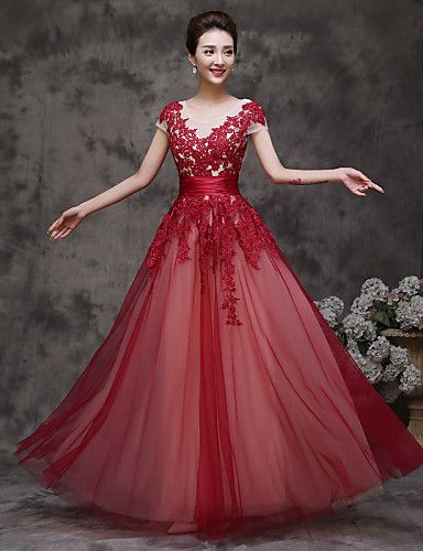Formal Evening Dress A-line Scoop Floor-length Tulle with Ruffles 4952578 2017 – $71.99
