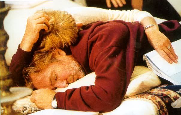 "1998 -- Alan Rickman and Helen Mirren asleep during rehearsals for ""Antony and Cleopatra."" Sweet photo. :-)"
