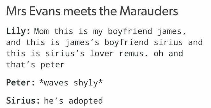 """He's adopted."" And we all know it is a scientific fact that James is Sirius' boyfriend (NOT in a romantic way!). I know two people who are quite like those two only more serious."