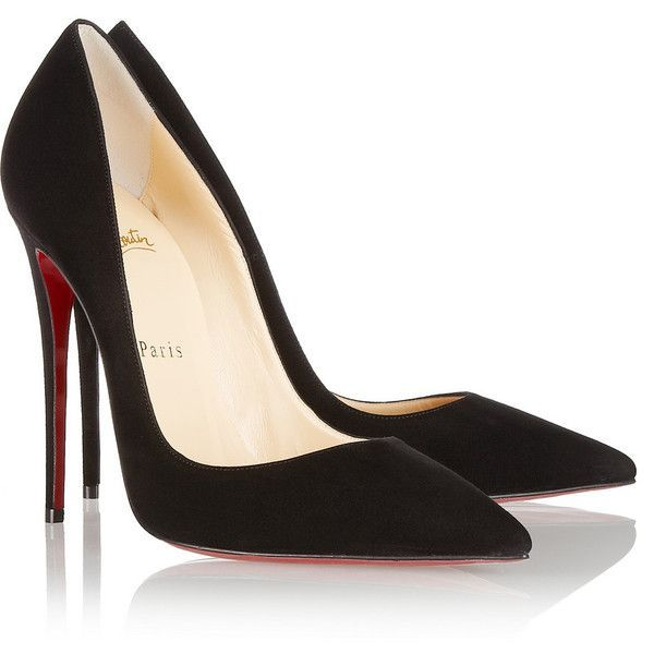 Christian Louboutin So Kate 120 suede pumps (13.948.120 VND) ❤ liked on Polyvore featuring shoes, pumps, heels, christian louboutin, sapatos, black high heel pumps, slip on pumps, black pumps and heels  pumps