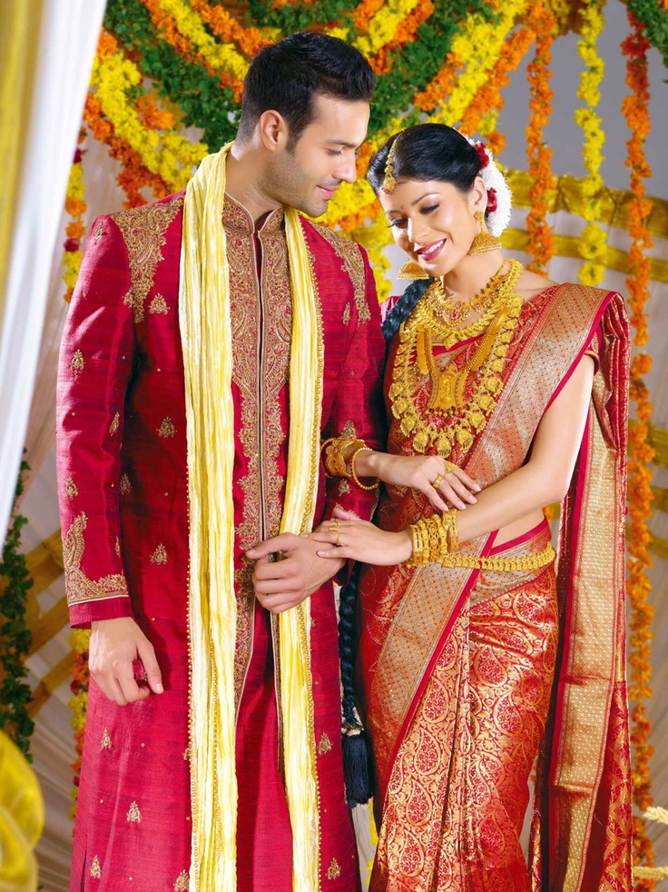Love this red kanjevaraam saree. and it looks so nice when it matches the groom! #saree