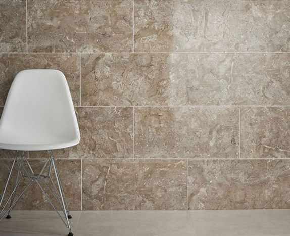 Photo Gallery Website Natural Tones Mocha wall tile by Johnsons A white body ceramic gloss wall tile suitable for bathrooms with a stunning imitation stone pattern