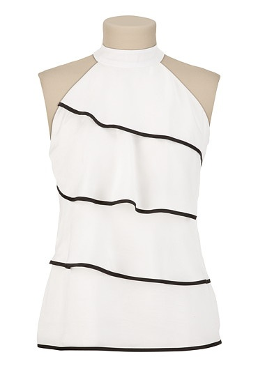 Tiered Mock Neck Top with Piping | $26.00 Maurices.com