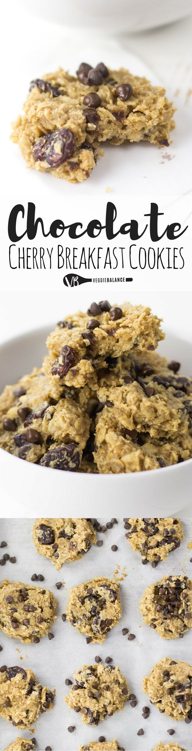 Chocolate Cherry Breakfast Cookies recipe made with only 7 easy ingredients. Entirely made with natural ingredients so you can feel good about eating cookies for breakfast! (Gluten-Free, Dairy-Free, Vegan, Nut-Free Friendly)