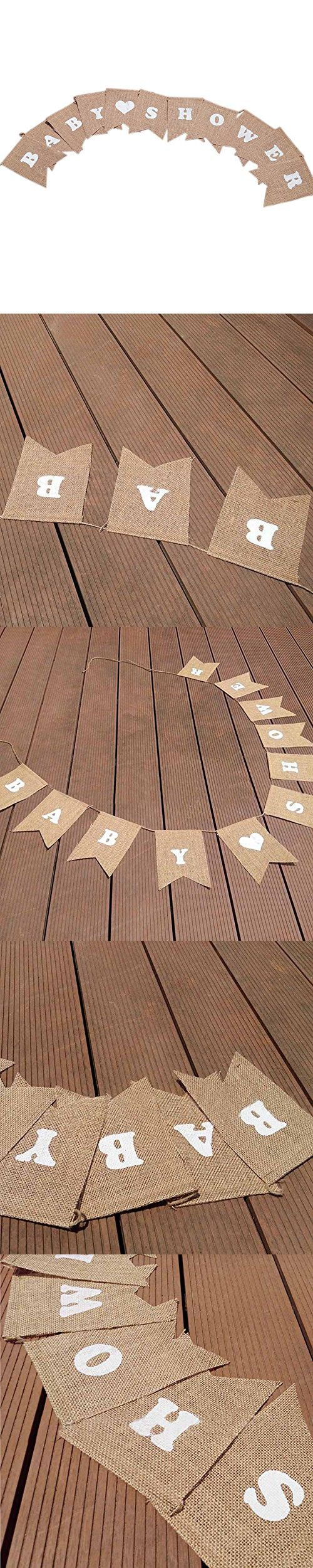 """BABY SHOWER"" Printed Burlap Bunting Banner Garlands with White Heart, Party Banner with String for Wedding Party Holiday Decoration (white)"