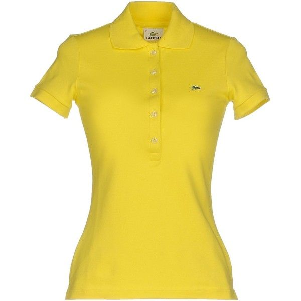 Lacoste Polo Shirt ($76) ❤ liked on Polyvore featuring tops, yellow, logo polo shirts, polo shirts, yellow top, short sleeve tops and lacoste
