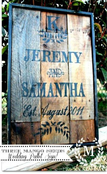 rustic wooden wedding sign-I like the way the date is done