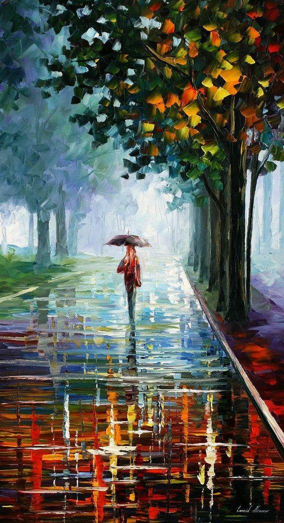 """Por la mañana lleno de vida, decoración en lona de Leonid Afremov. Pintura al óleo, arte de pared de lluvia, paraguas de arte, Parque de Bellas Artes, tamaño: 20 """"X 36"""""""