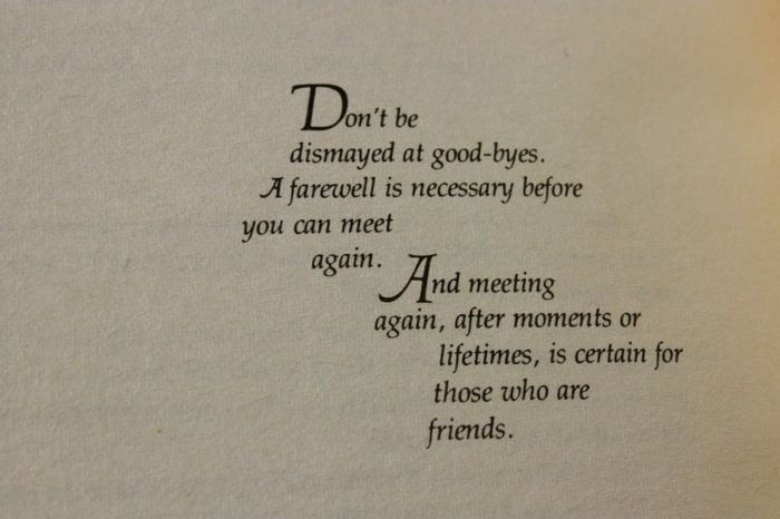 Don't be dismayed at goodbyes...  from Illusions, Richard Bach